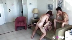 The cuckold's revenge. Fucking a girl in front of his girlfr