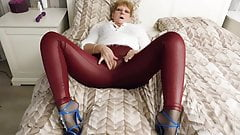 Red leather crotchless legging