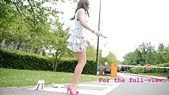 teen skipping rope high heels without panty (upskirt)