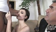 Skinny wife takes thick black cock while cuckold watch