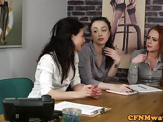 Best free interracial group videos - Cfnm femdoms tugging sub in interracial group