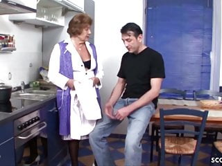 Vintage kitchen stool cosco - German vintage granny seduce to fuck by young guy in kitchen