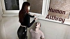 Sofi In Latex Pants Uses Her Human Ashtray While Smoking