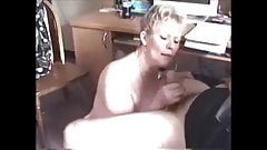 Short hair grandma blwojob handjob and cum in mouth