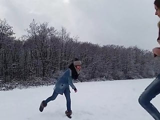 Girls amateur snow Two teens masturbating in the snow