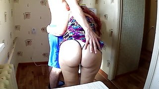 She was delighted when she saw the cock. Anal in the kitchen