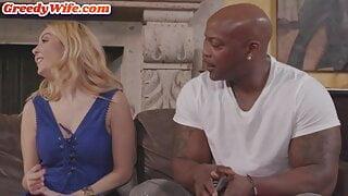 Stranded horny wife enjoys first interracial