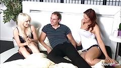 Redhead Teen Suprise Girlfriend with FFM Birthday Threesome