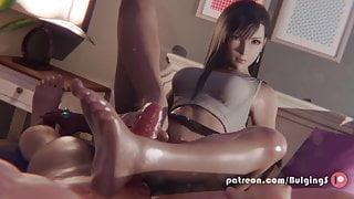 Final Fantasy Tifa Footjob Cumshot