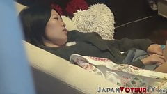 Japanese bitch plays with her hairy pussy on secret tape