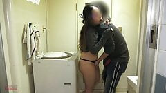 Housewife is cheating in the bathroom of her house.