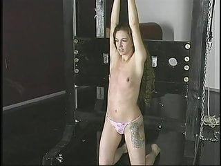 Teen a cup nude pics Slim a-cup bdsm brunette with arms roped overhead stands submissively