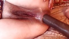 BBW Russian GILF with dirty messy huge asshole and dildo