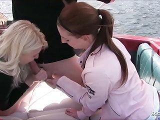 Cute ffm threesome videos Cute german teen bitches at public ffm threesome on boat