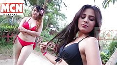 Hot mom & daughter in bikini at swimming pool