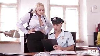 Police deputy does detective work on ample bosom