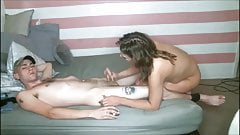 Shemale playing with her lover's cock - cock to cock