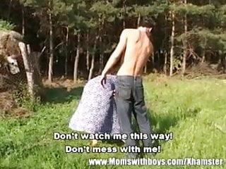 Exotic farm milf - Horny farm boy fucks a redhead mature outdoors