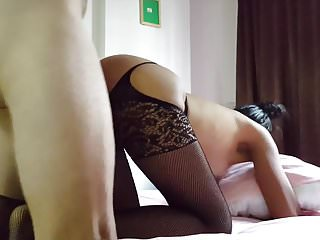 Busty asian fuck white dick Thai slut in stockings fucked and creampied by white dick