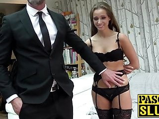Mesmerizing Uk Girl Gags On Dick While Her Ass Is Spanked