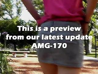 Best legs porn - Sexiest upskirt showing her ass in public park best legs