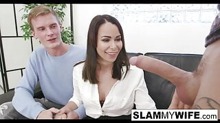 Hot brunette gets creampied in front of her husband