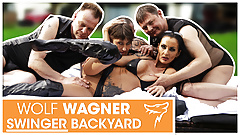 Swinger orgy! Two MILFs get boned by 3 studs! WolfWagner.com