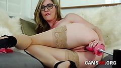 Blonde with Big Tits is Using a Fucking Machine