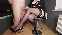 School Teacher Gives Handjob in Stockings and High Heels on sexy legs