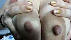 Busty Antonella shows her interestingly large areolas