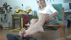 My cock loves her milf toes! Footjob -shoejob 2