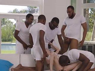 Tear vagina sex Five blacks with big dicks tearing up little blonde