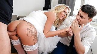 DEBT4k. Czech bride Claudia Macc fucked in front of her boyfriend