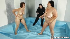 Massive titted bbw wrestles before fucking