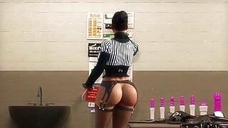 Mistress destroys slave's cock in sperm facility