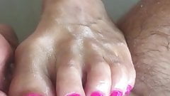 Very Short footjob with pretty Pink Toes