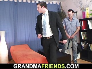 Busty granmas Very old busty granma in stockings swallows two cocks