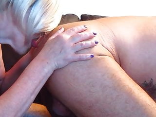 Fingering man ass Blonde whore finger in ass while man licked and cum in mouth