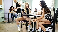 Bubble butt girls gone wild in a cafe
