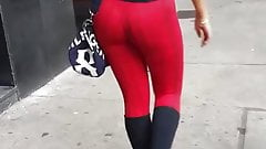 Candid hot blonde girl perfect ass in red leggings