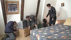 Filming crazy threesome orgy with old grandma