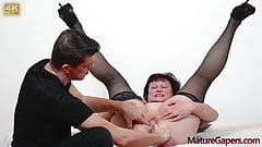Pussy gapig and hard banging of Czech mature countrywoman