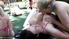 Mothers and daughter piss after lesbian sex