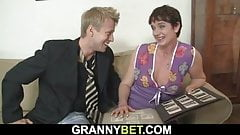 Hairy old woman sucks and rides his big rod