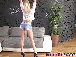 Dildo solo - Young european blonde stripteases before dildo solo