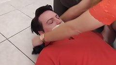 milf mistress bianca train her foot slave in foot smelling