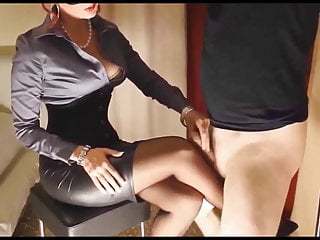 Governess spanks men - Governess wants cum on legs