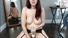Webcam - Girl next door in glasses plays with dildo (HD)