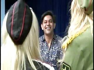 Fishnet sluts British blonde slut in a ffm threesome in yellow fishnets