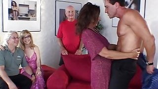 Mature wives with old wrinkly pussies fucked on a couch by young stud
